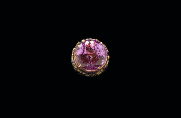 OC Wonders 18K Rose Gold Ring with Side Blue Topaz, Rubies and Center Amethyst