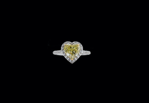 OC 18K White Gold Engagement Ring with Fancy Yellow Heart and Diamonds (GIA Certified)