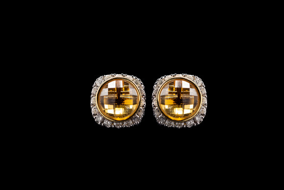 OC Vintage 18K White Gold Earrings with Citrine and White Diamonds