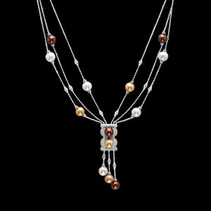 OC Limited 18K White Gold Necklace with Multi-color Pearls and White Diamonds