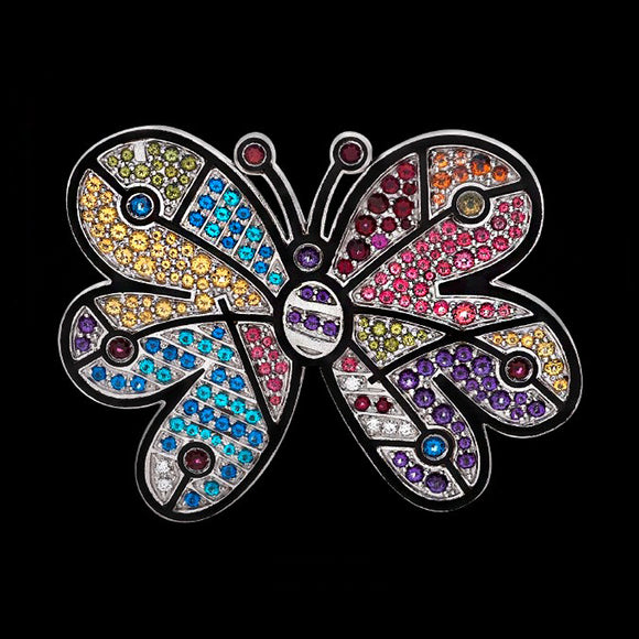 Romero Britto Collaboration Butterfly Pin in 18K White Gold with Multi-color Topaz and Diamonds