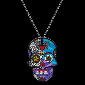 Romero Britto Collaboration Calavera Ring / Pendant in 18K White Gold with Enamel Details