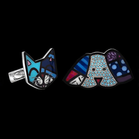 Romero Britto Collaboration Cat & Dog Cufflinks in 18K White Gold with Topaz and Diamonds