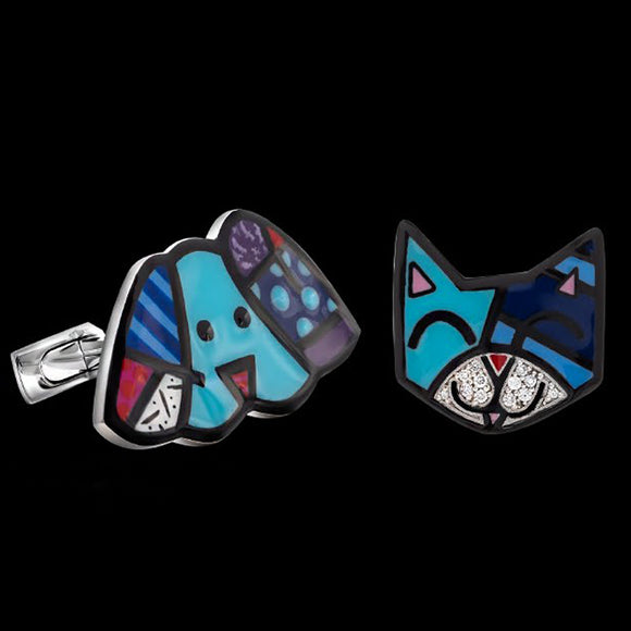 Romero Britto Collaboration Blue Cat & Dog Cufflinks in 18K White Gold with Enamel Details