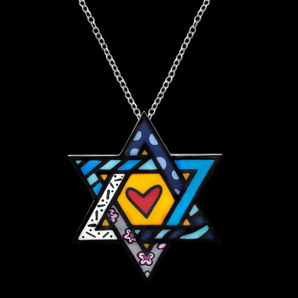 Romero Britto Collaboration Star of David Pin in 18K White Gold with Enamel Details