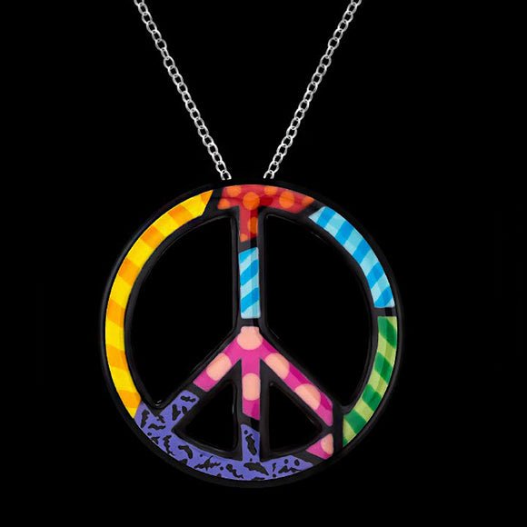 Romero Britto Collaboration Peace Pin / Pendant in 18K White Gold with Enamel Details