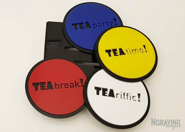 Custom-made colored coasters design.