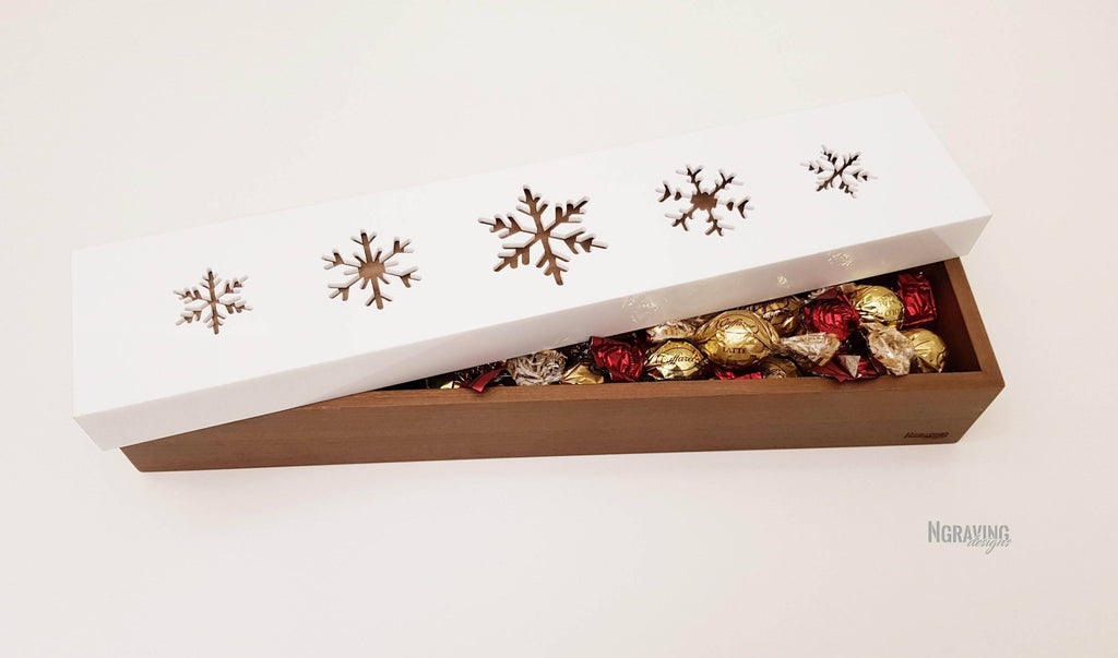 Custom-made CHRISTMAS wood and plexiglass box design. CHOCOLATES NOT INCLUDED.