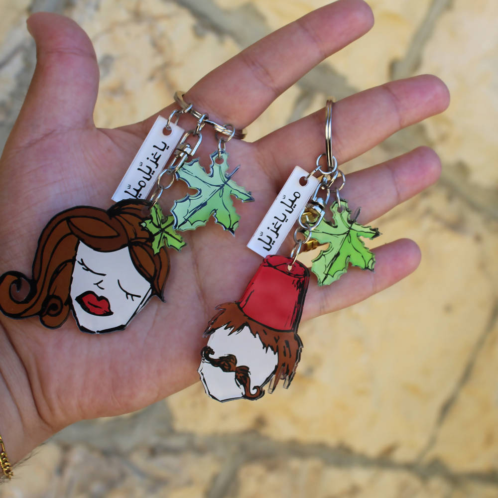 customized keychains ( 2 pieces: men & women )