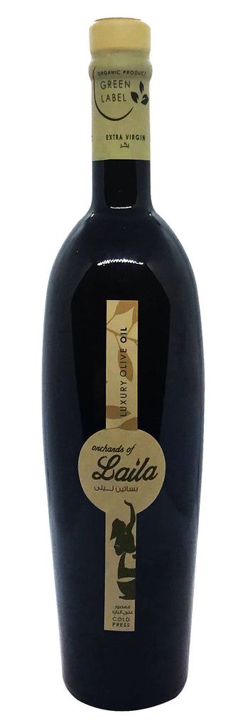 Orchards of Laila's Green Label - 750ml Organic Extra Virgin Olive Oil, Cultivar : Ayrouni