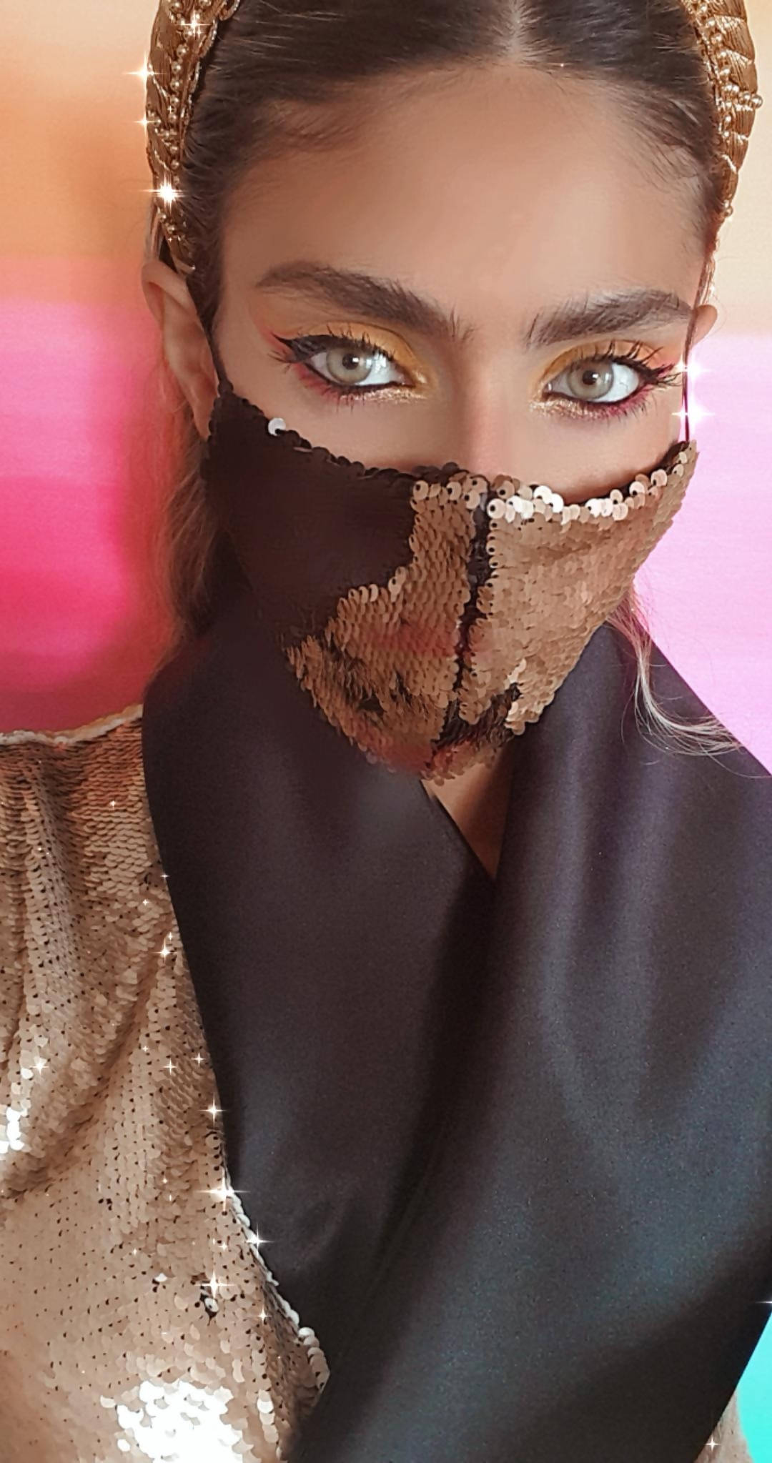 Versatile Black and Gold Sequin Face Mask