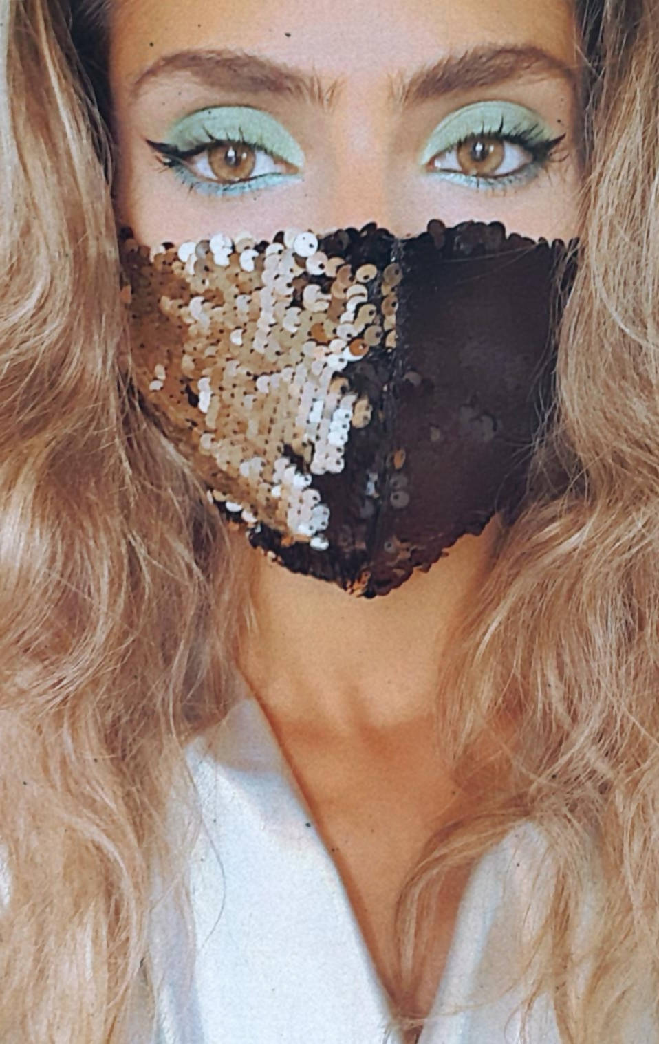 Versatile Black and Silver Sequin Face Mask
