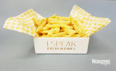 Custom-made french fries box design.