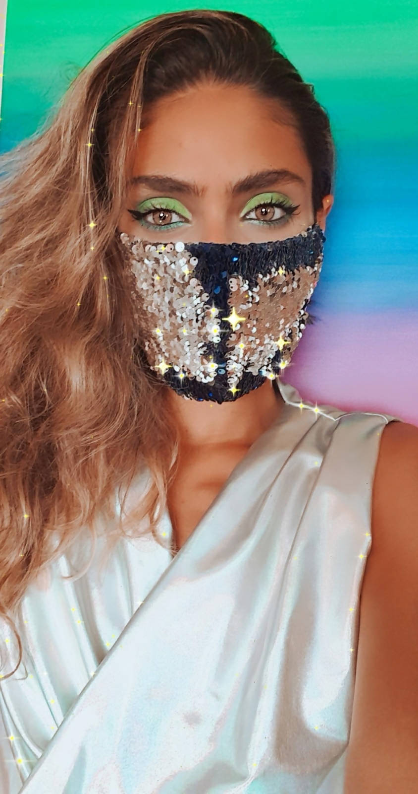 Versatile Navy Blue and Silver Sequin Face Mask