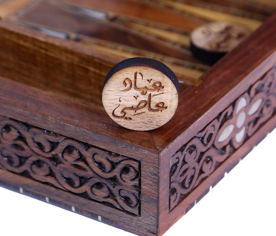 Personalized Backgammon SHESH YEK - GIFT IDEAS - Custom Made - Natural walnut Laminated wood & seashell