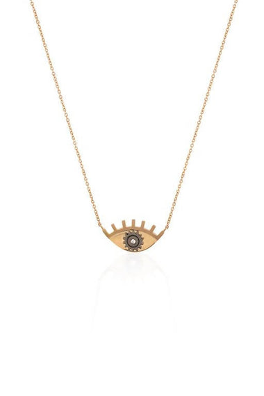 gold-small-eye-gear-necklace - By Delcy