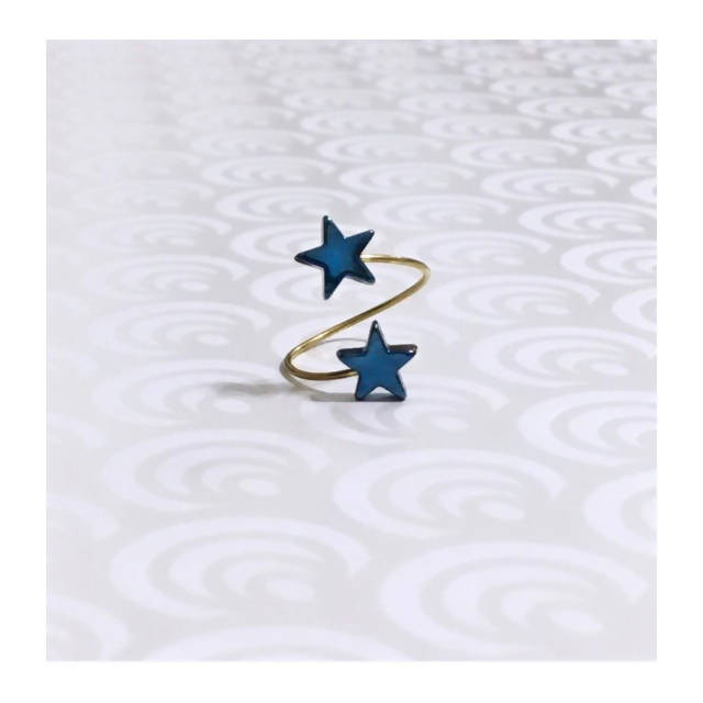 Loulicious Star Hematite Blue Ring