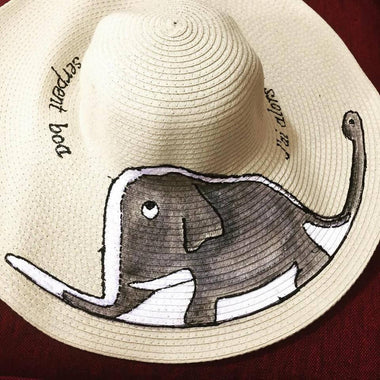 Hat - Hand painted Elephant