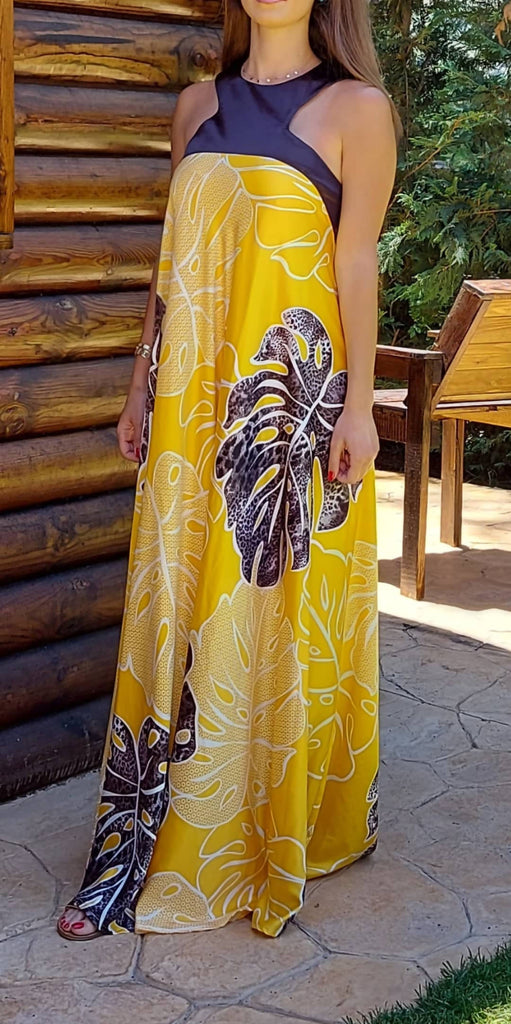 Yellow long silk dress with leafs print- My Closet Diary 21