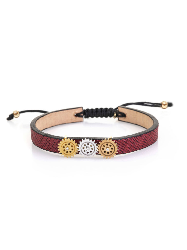 gold-trio-gear-leather-bracelet-softbuckle- By Delcy