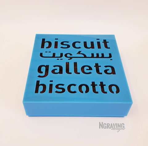Custom-made biscuit box design. BISCUITS NOT INCLUDED.
