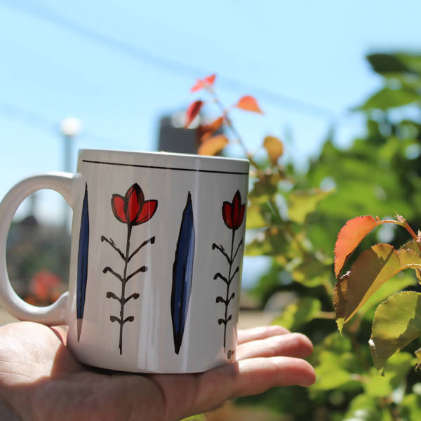 shaffe Lebanese mugs - bleu and red