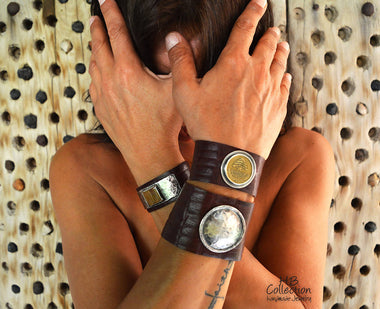 Leather Bracelet With Lebanese Coin