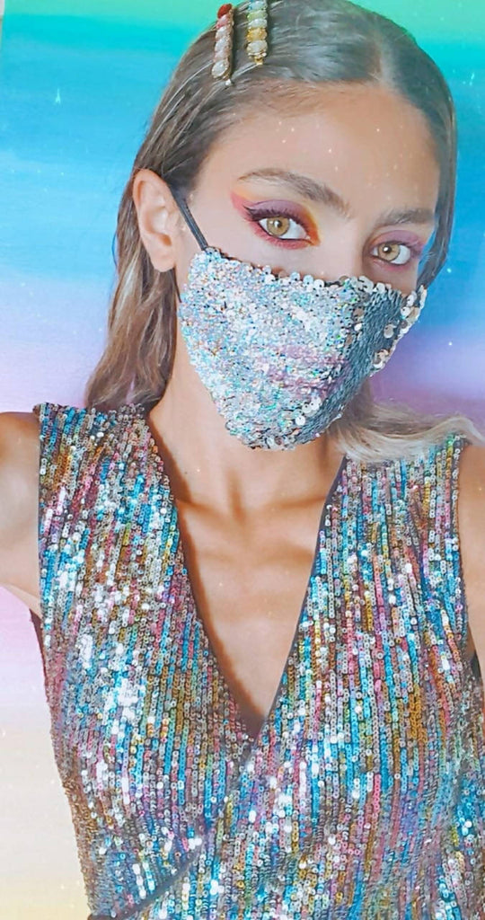 Versatile Holographic and Silver sequin face mask
