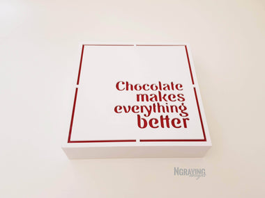 Custom-made white chocolate box design. CHOCOLATE NOT INCLUDED.