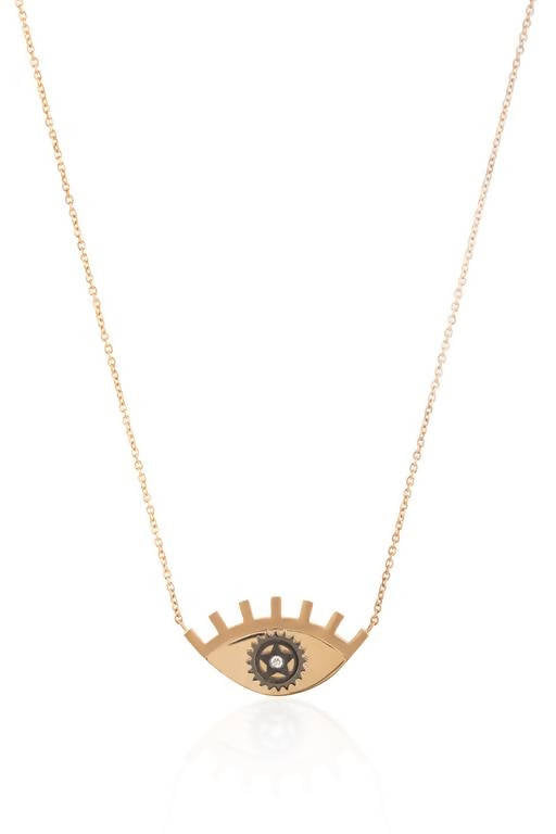 gold-large-eye-gear-necklace - By Delcy