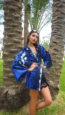 Navy Blue & Silver Sequin Cardigan - Palmaia