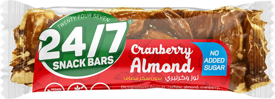 24/7 Cranberry Almond No Added Sugar gluten free vegan