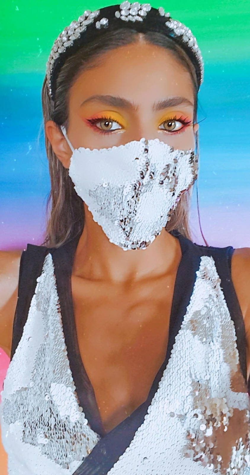 Versatile White and Silver sequin face mask