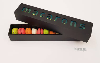 Custom-made macarons box design. MACARONS NOT INCLUDED.