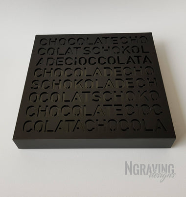 Custom-made corporate black chocolate box design. CHOCOLATE NOT INCLUDED.