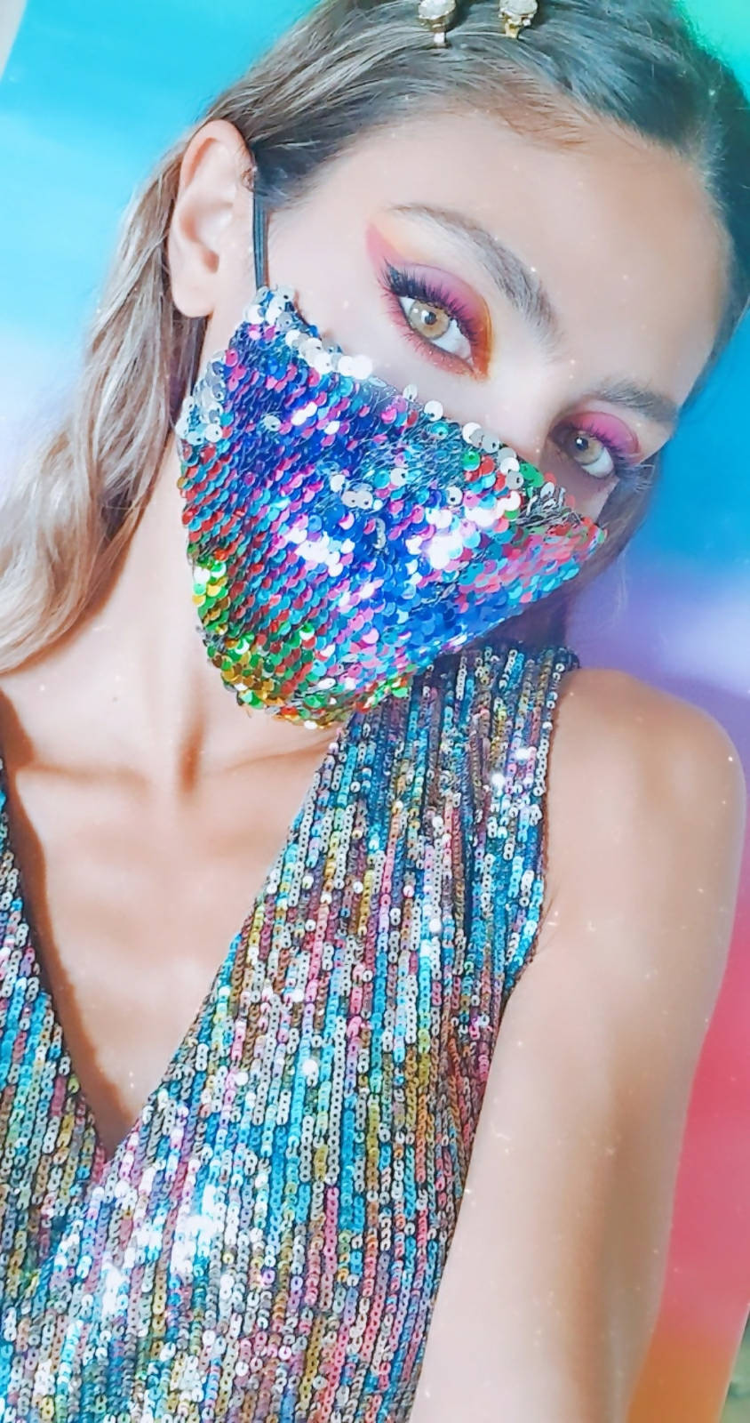 Versatile Multicolored and Silver Sequin face mask