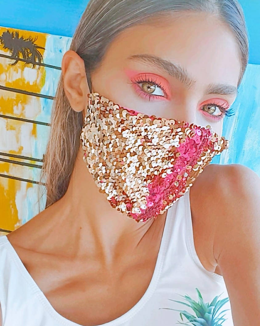Versatile Pink and Gold Sequin Face Mask