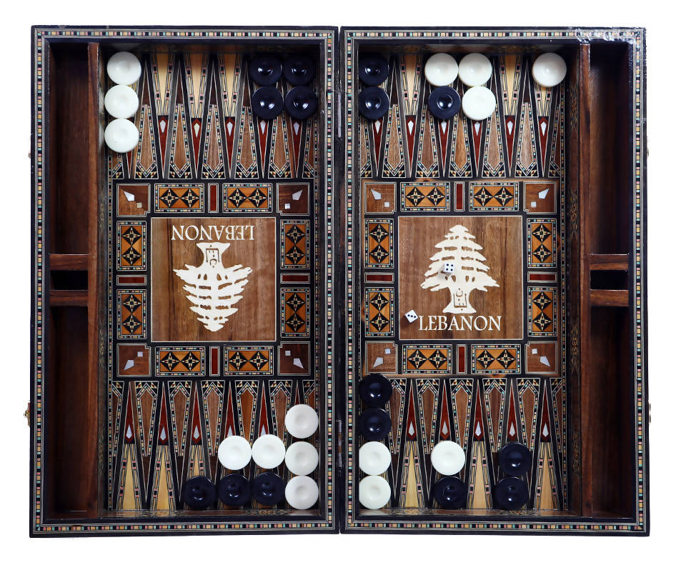 Backgammon SHESH YEK- Laminated Natural Mosaic Seashell