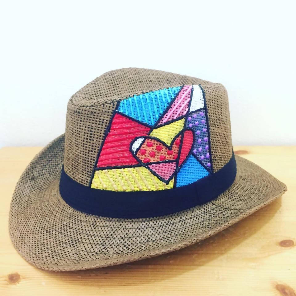 Hat - Heart pop up art - brown base