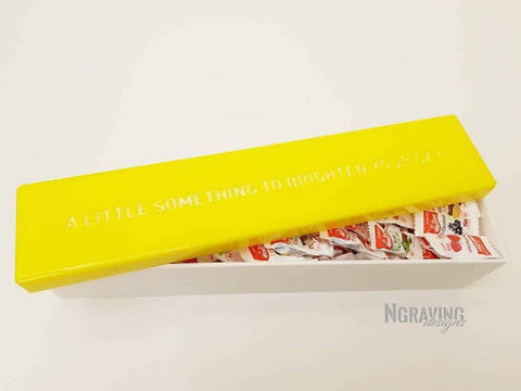 Custom-made yellow box design. CANDIES NOT INCLUDED.
