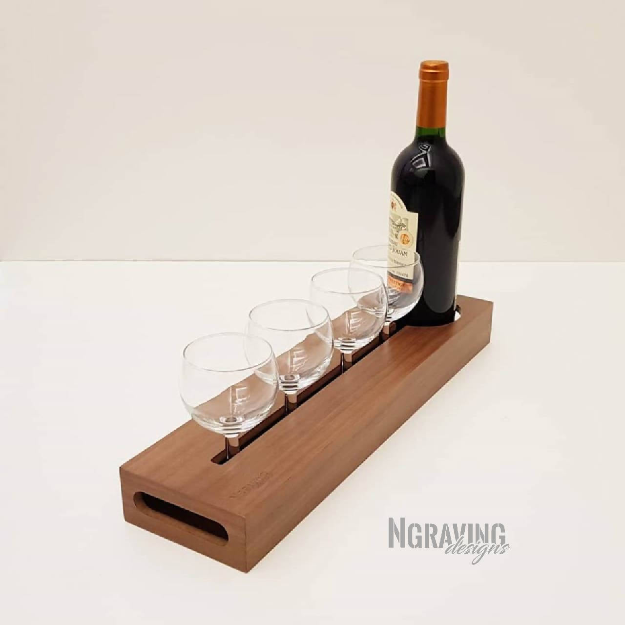 Custom-made bottle & glass stand design. BOTTLE & GLASSES NOT INCLUDED.