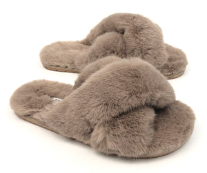 Plush slippers|Tan