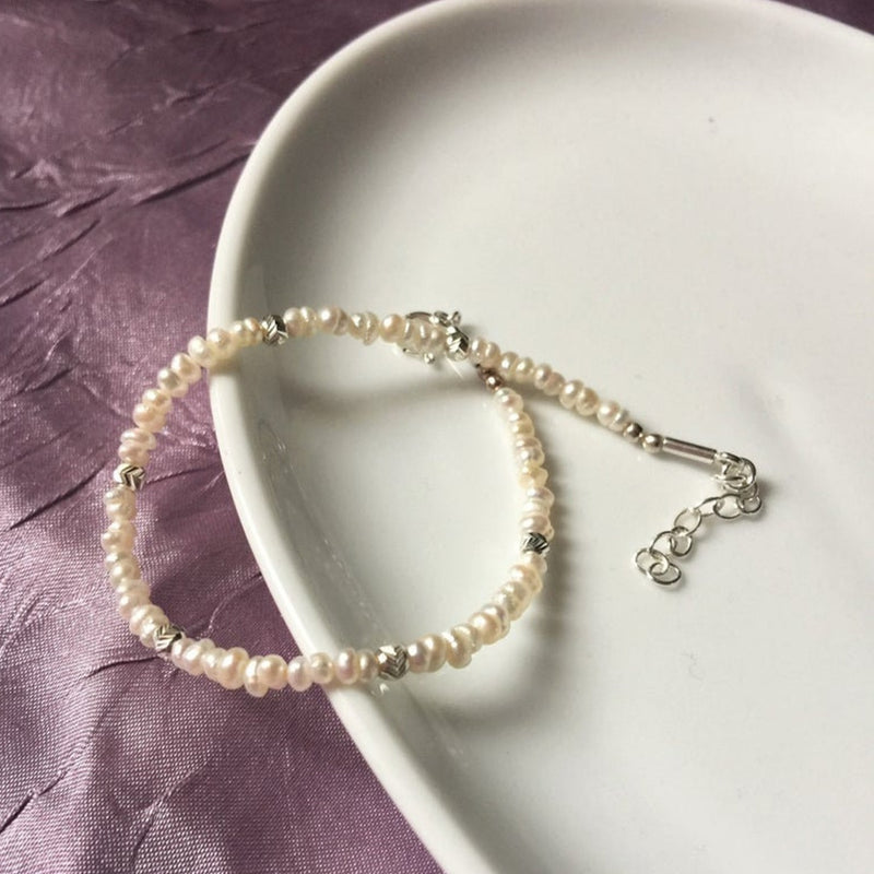 Handmade Bracelet with Freshwater & Silver Pearls for women