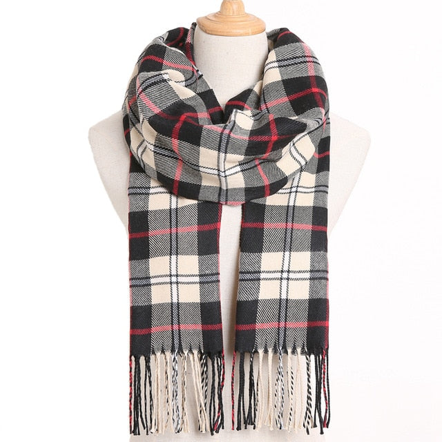 [VIANOSI] 2019 Plaid Winter Scarf Women Foulard Solid Scarves Fashion Casual Scarfs Cashmere Bufandas Hombre