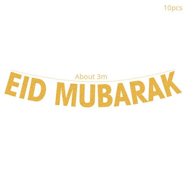WEIGAO EID MUBARAK Event Decor Glitter Islam Festival Bunting Garland Islamic Muslim Mubarak Decoration Ramadan Decor Supplies