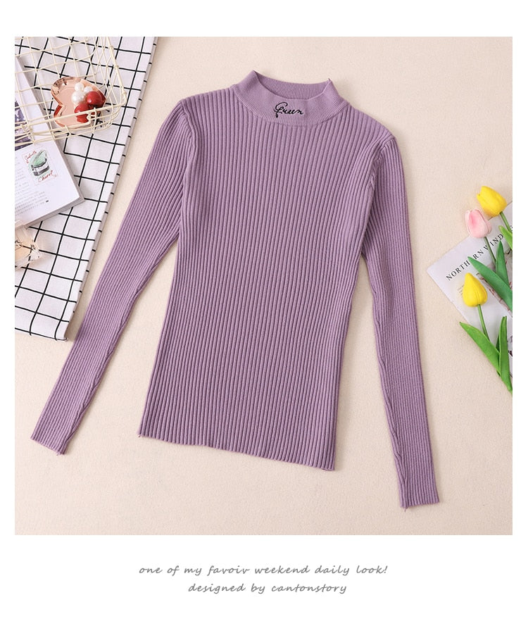 Turtleneck Thick Warm Women Autumn Winter Pullover Sweater High Elasticity Knitted Soft Jumper Long Sleeves Sweater Femme Top