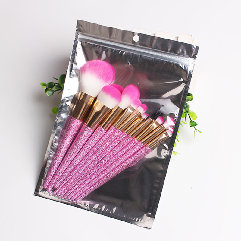 3D Glitter Makeup Brush Set Eyeliner Shadow Brow Eyelash Lip Foundation Power Cosmetics Beauty Essentials Make Up Tool Kit
