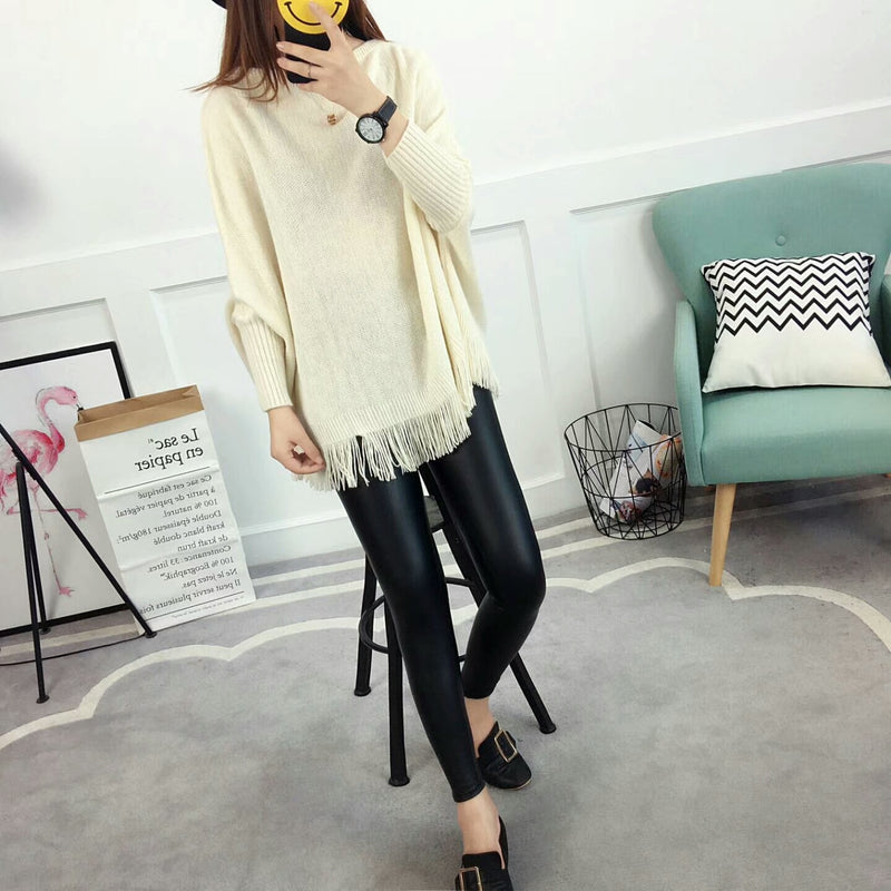 New Autumn Gray Pullovers And Sweaters Loose Tassel Soft Shawl Poncho Women Slash Neck Bat Long Sleeve Pullover Sweater Shawl