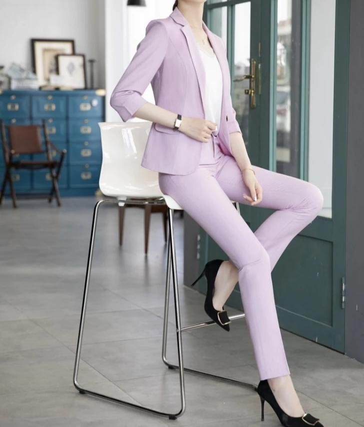 Novelty Pink Slim Fashion Women Business Suits With Pants and Jackets Coat OL Styles Ladies Professional Pantsuits Trousers Set