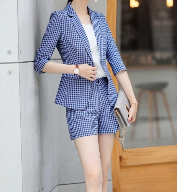 Women Formal Business Suits 2 Piece Sets With Shorts and Jackets Coat Half Sleeve 2019 Spring Summer Professional Blazers Plaid